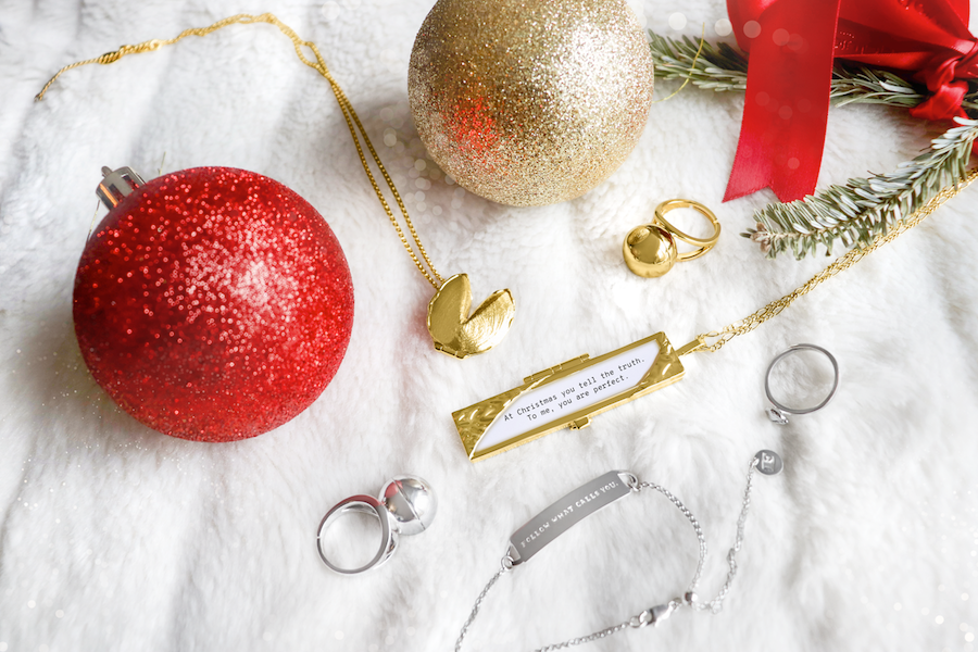 Shown here: Fortune & Frame jewelry, thoughtful Christmas gifts to add a message inside