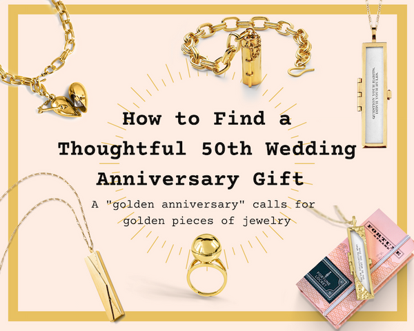 Shown here: Our selection of golden jewelry makes for thoughtful 50th wedding anniversary gifts.