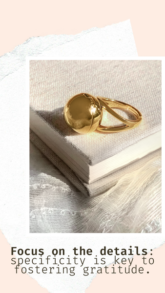 Shown here: Our Sphere Secret Ring can store your personal notes of gratitude.