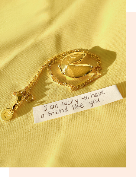 Shown here: Fortune & Frame Fortune Cookie Locket, a thoughtful gift for a female best friend.