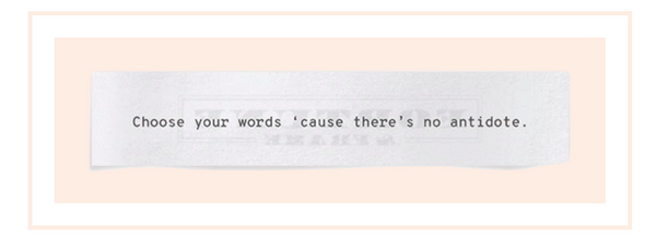 Shown here: Choose your words 'cause there ain't no antidote meaningful lyrics.