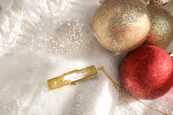 Shown here: Our Honeycomb Fortune Locket, a thoughtful Christmas gift for mom.