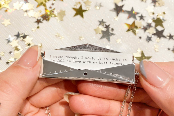 Shown here: Our Fortune & Frame Envelope Fortune Locket, an ideal traditional wedding anniversary gift for the years.