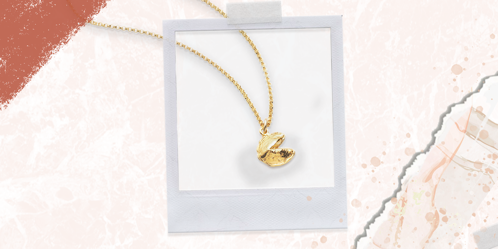 Our gold fortune cookie pendant is the ultimate gift for sisters who love minimalist jewelry they can wear everyday.