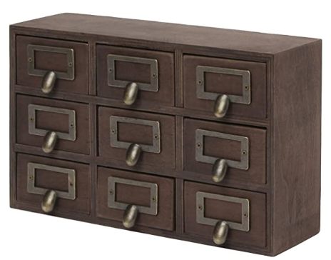 Shown Here: These wooden apothecary drawers might seem like an unusual anniversary gift, but not on your fifth anniversary, or wooden anniversary.