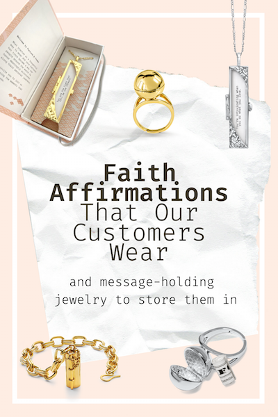 A collage of faith affirmations and Fortune & Frame jewelry on a pink background.