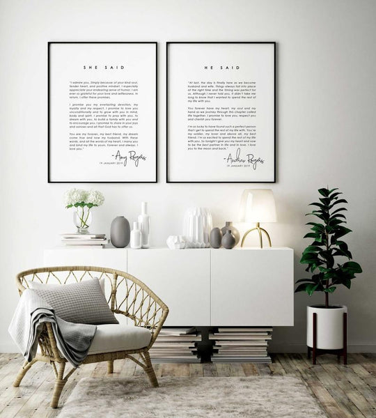 Shown Here: These customizable vow keepsake prints are the most perfect personalized anniversary gift, no matter how many years you are celebrating.
