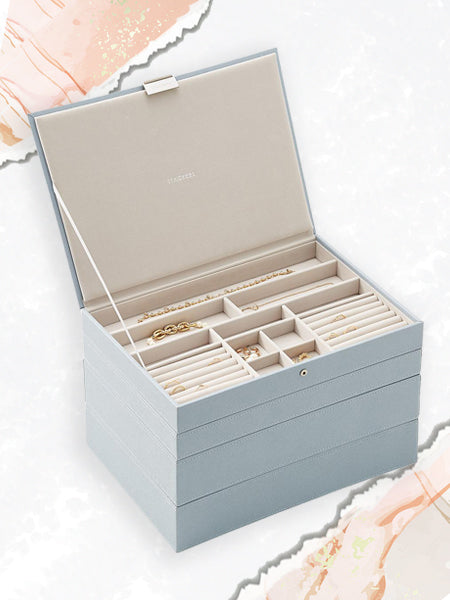 Shown here: a stackable jewelry box makes for another useful way for organizing and storing jewelry.