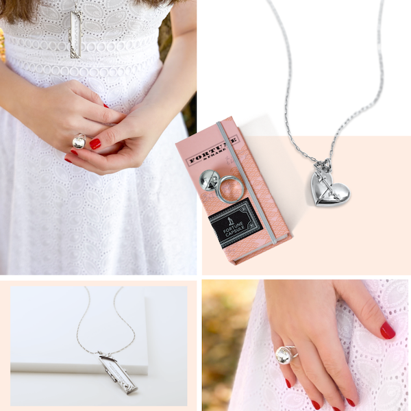 Shown Here: A selection of silver wedding anniversary jewelry gifts for her
