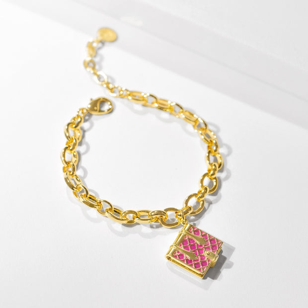 Book Bracelet (Magenta) // Gold-Dipped