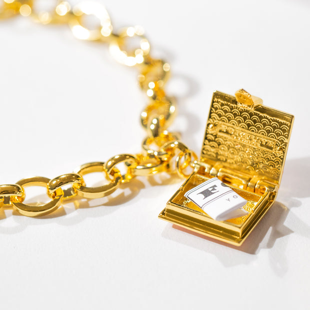 Book Bracelet (Black) // Gold-Dipped
