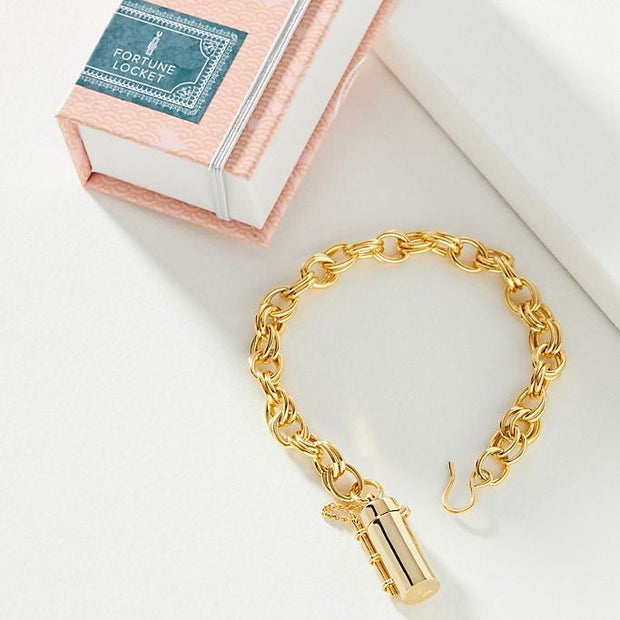 Image shows a capsule and wand bracelet next to a fortune and frame story book packaging.
