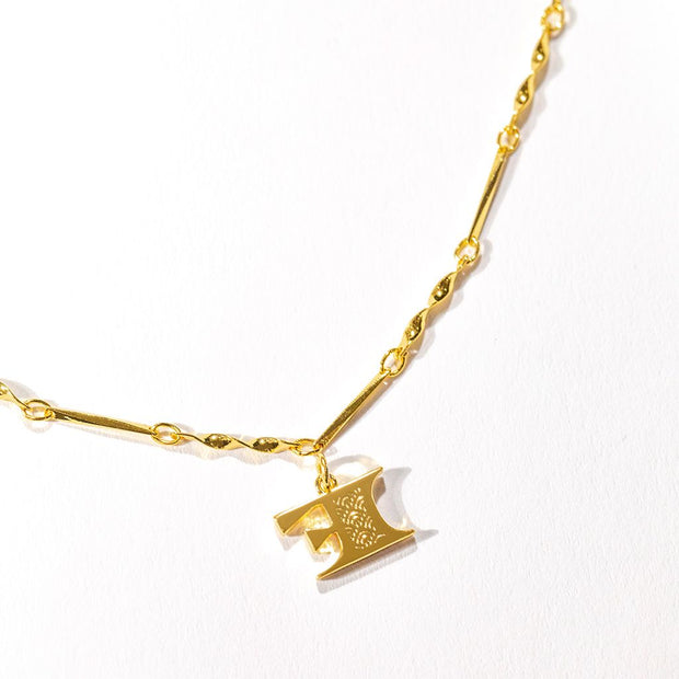 Letter Necklace (F) // Gold-Dipped