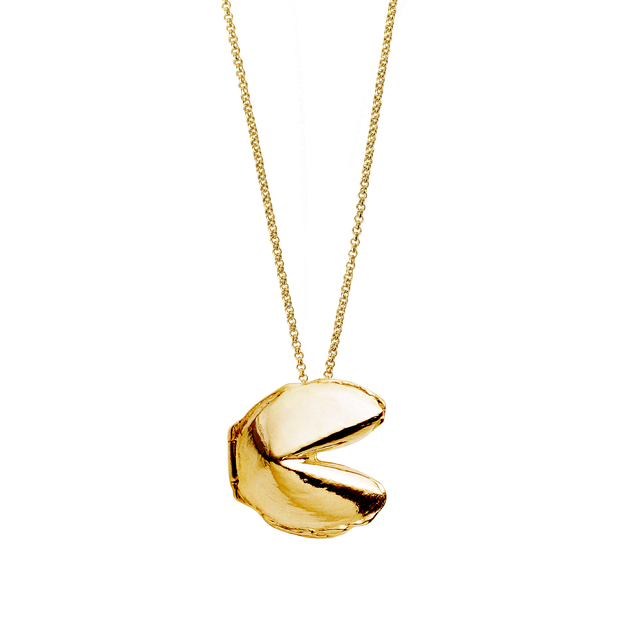 Gold Fortune Cookie necklace on a gold chain. The necklace is shown on a white background.
