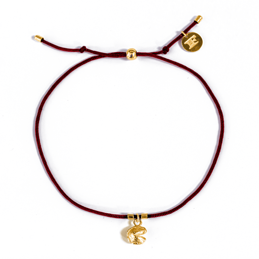 Fortune Cookie String Bracelets (Deep Red) // 14K Gold-Plated Silver