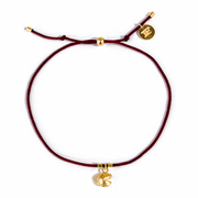 Fortune Cookie String Bracelets (Burgundy) // 14K Gold-Plated Silver