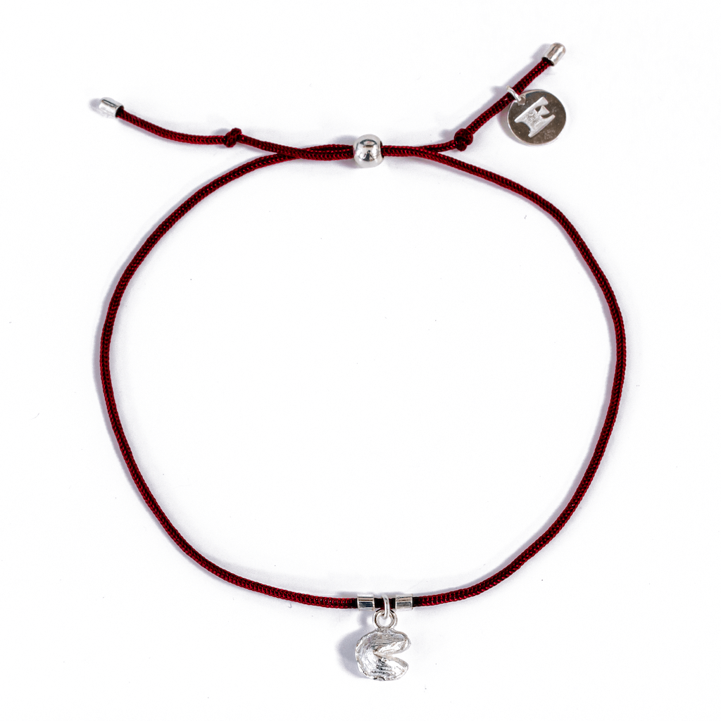 Fortune Cookie String Bracelets (Deep Red) // Sterling Silver