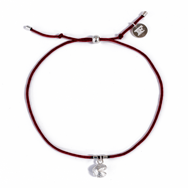 Fortune Cookie String Bracelets (Burgundy) // Sterling Silver