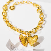 Jeweled Heart Bracelet // Gold-Dipped