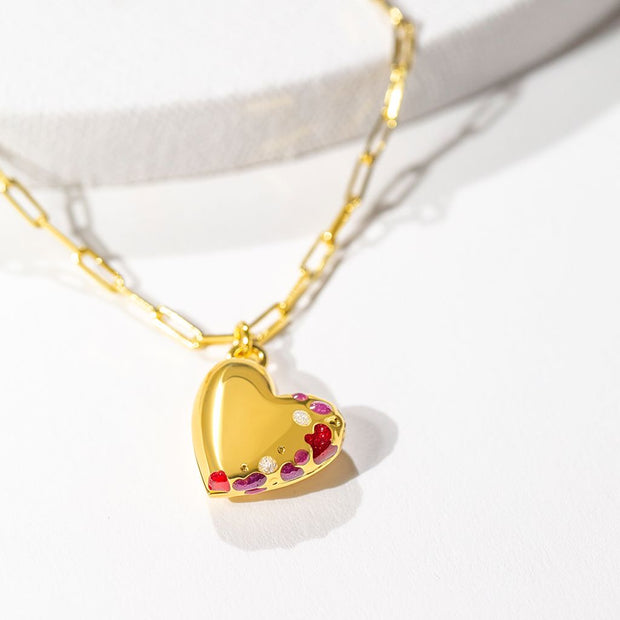 Jeweled Heart Locket // Gold-Dipped