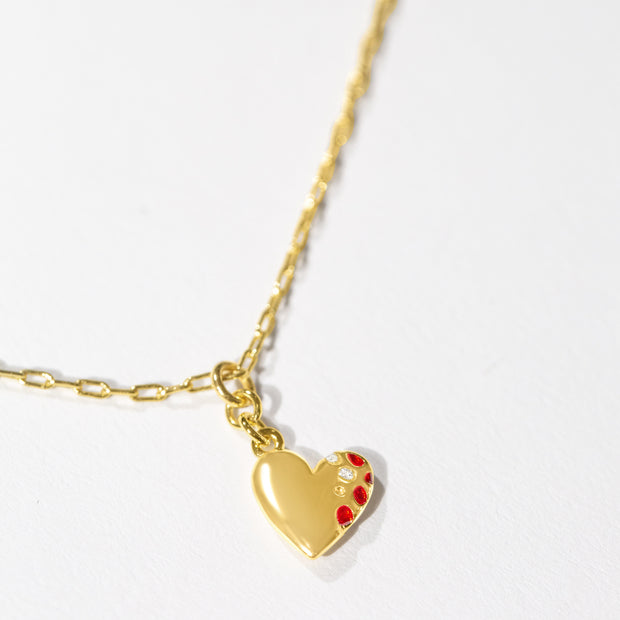 Jeweled Heart Pendant // Gold-Dipped