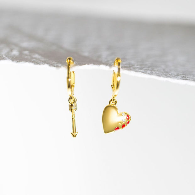 Mismatched Heart + Arrow Earrings // Gold-Dipped