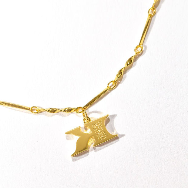 Letter Necklace (K) // Gold-Dipped