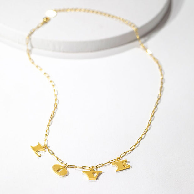 LOVE Letters Necklace // Gold-Dipped