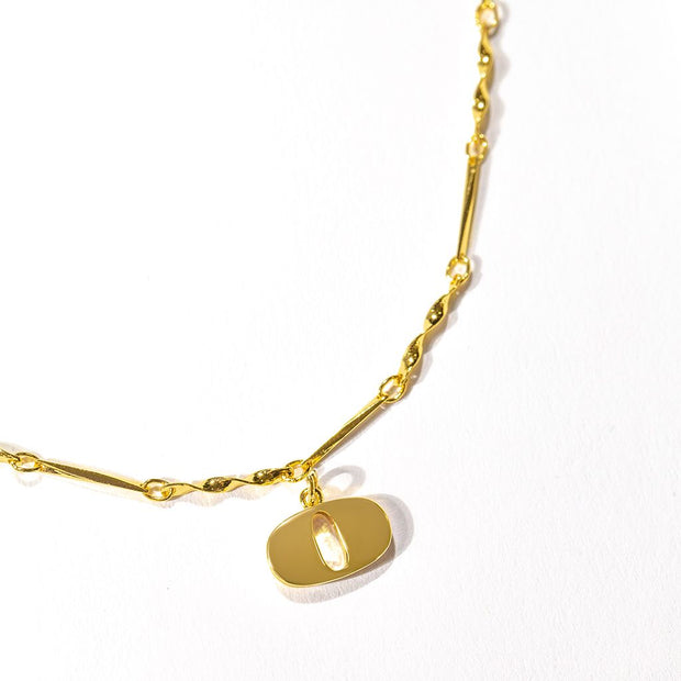 Letter Necklace (O) // Gold-Dipped