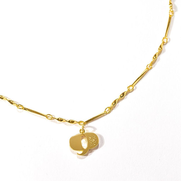 Letter Necklace (Q) // Gold-Dipped