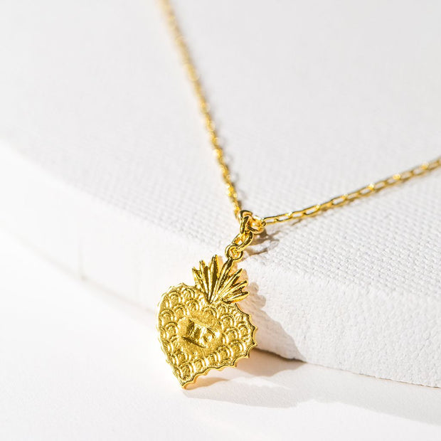 Sacred Heart Pendant // Gold-Dipped