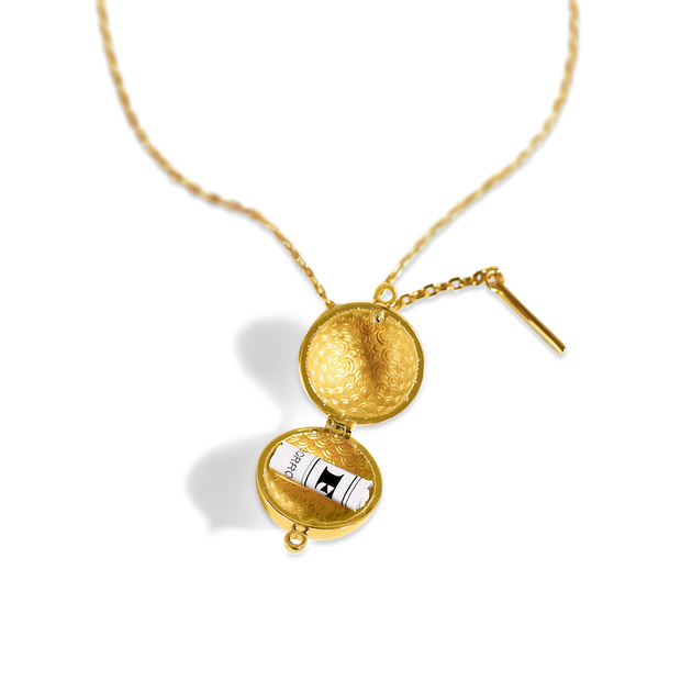 Sphere + Wand Locket // 14K Gold-Plated Silver