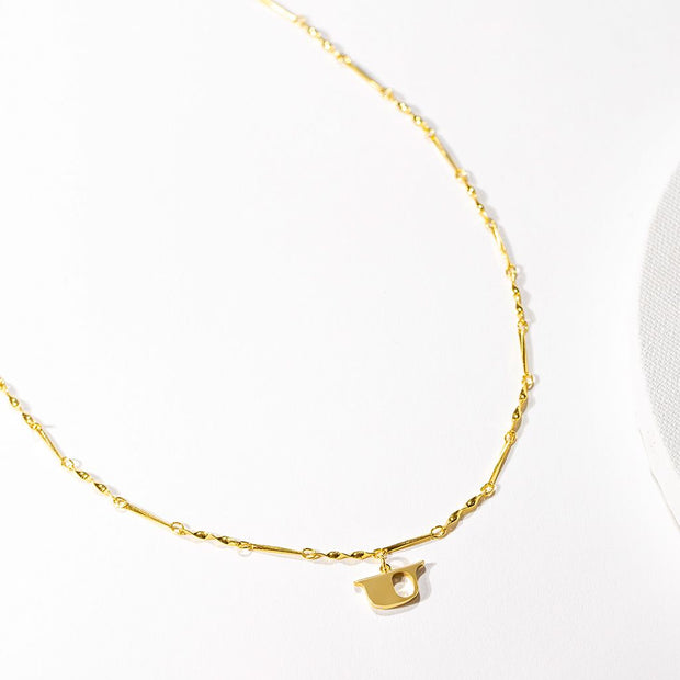 Letter Necklace (U) // Gold-Dipped