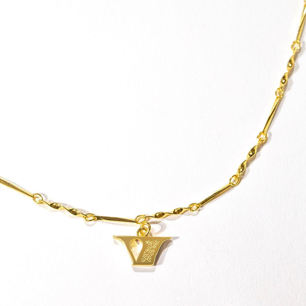 Letter Necklace (V) // Gold-Dipped