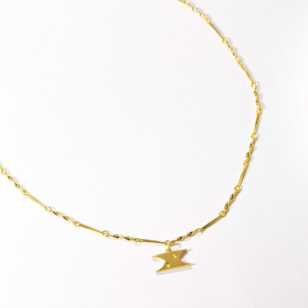 Letter Necklace (X) // Gold-Dipped