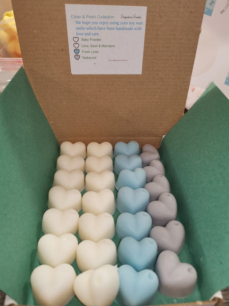 Clean & Fresh Box Soy Wax Melt Hearts - SignatureScents UK