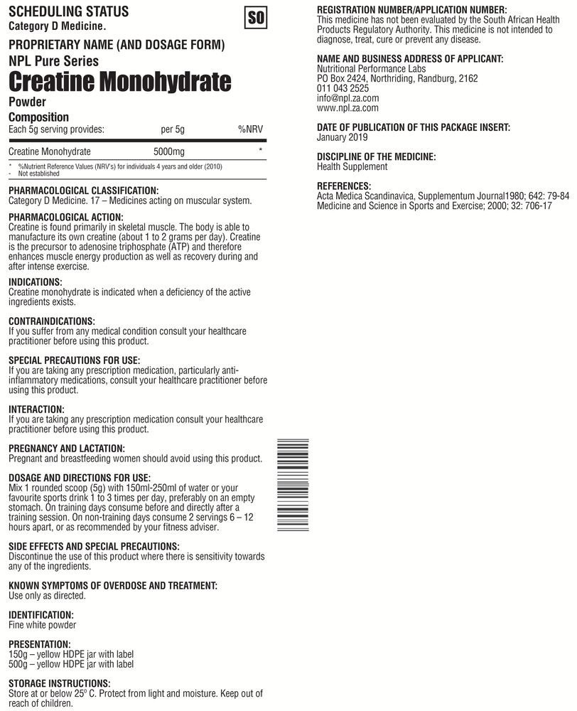 Load image into Gallery viewer, NPL Creatine Monohydrate 500g