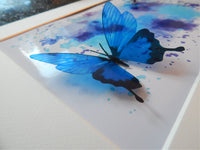 Blue 3d butterflies abstract artwork by Flutterframes