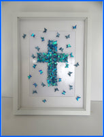 The Cross Christian picture,Christening Cross,Crucifix 3d butterfly picture,Jesus Art, Born Again Art, Baptism Wall Art,Crucifix