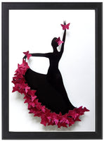 Pink Flamenco dancer 3d butterfly picture