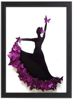 Purple Flamenco dancer 3d butterfly picture