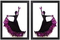 Pair of purple Flamenco dancer 3d butterfly picture