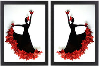 Pair of Red Flamenco dancer framed picture