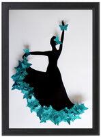 Turquoise, Teal   Flamenco dancer framed picture
