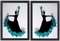 Turquoise pair of  Flamenco dancer framed picture