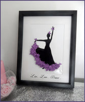 Personalised Purple  Flamenco dancer framed picture
