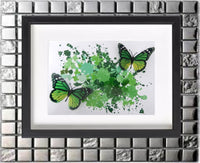 Green butterfly framed picture