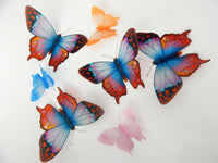 7 3d Fantasy multi-coloured butterflies lounge, hall, conservatory, bathroom, bedroom,garden, bedroom,living room,kitchen,wall art stickers