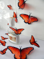 7 3d Reproduction Beautiful 3D Exotic orange Wedding Butterflies Flower- Table Decorations Flower Pot Home  bedroom,garden