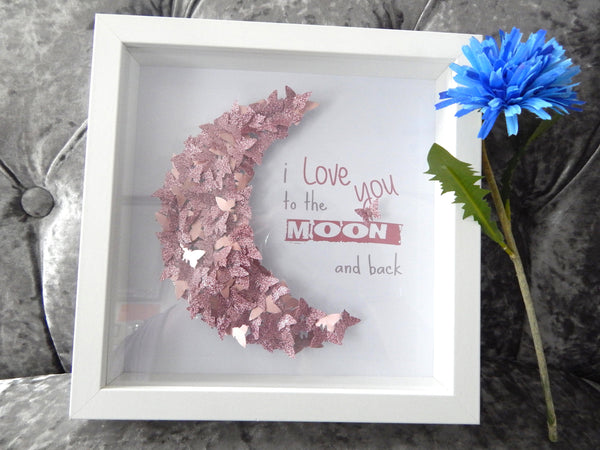 Personalised Picture for girl's room,Love you to the Moon and back,birthday,Christening,child's bedroom,daughter,nursery,baby girl's room